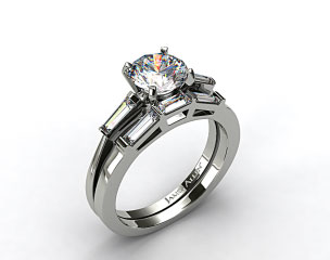 18k White Gold Tapered Baguette Diamond Wedding Set